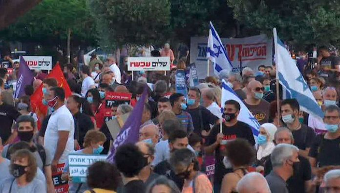 Residents of tel Aviv protesting against Israel's annexation of the West Bank